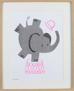 Circus elephant print by Lisa Jones