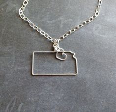 Kansas Necklace Custom State Love Necklace State by theFolk