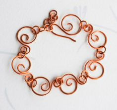 Cloud In The Sky Copper Wire Wrap Spiral Chain Handmade Bracelet Adjustable