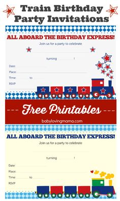 Train Birthday Party Invitations Free Printables