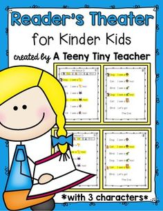 Reader's Theater for Kinder Kids! - These plays can be used for centers, Language Arts activities, fluency practice, partner reading, etc. This particular pack has 3 characters for those times when you find you have an odd number of students due to enrollment, absences, pull-out programs, etc. Thi...