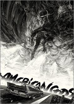 Nicolas Delort's art for Neil Gaiman's American Gods novel