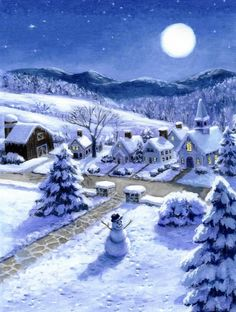 Snowman 1 by Ruth Sanderson ~ winter moonscape