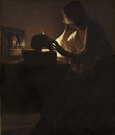 Georges de la Tour, Magdalene with the Smoking Flame, c. currently at the Los Angeles County Museum of Art Georges de la Tour, The Penitent Magdalene, c. Baroque Painting, Baroque Art, Italian Painters, Italian Artist, Chiaroscuro, Michelangelo Caravaggio, Sculpture Textile, Renaissance Kunst, National Gallery Of Art