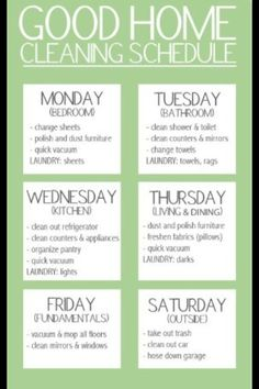 Good Cleaning Schedule
