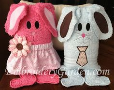 Bunny Towel Couple Project. This bunny is made using hand towels and is easy to make. Download the instructions from EmbroideryGarden.com