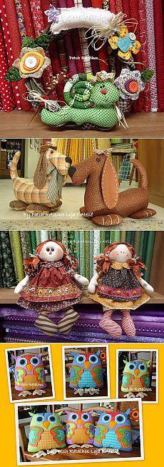 Лоскутное шитье, игрушки Aline Küster из Бразилии.