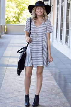 Alana Stripe Textured Grey V-neck Tee Dress ad3d346322ba