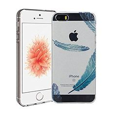 iPhone 5/5S/SE Case Silingsan TPU Silicone Case for iPhone 5/5S/SE Transparent Clear Cover Soft Flexible Phone Skin Ultra Thin Slim Shell Smooth Lightweight Bumper Scratchproof Shockproof Case with Creative Patterns - Blue Feather