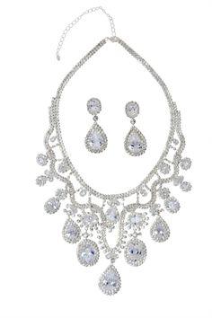 Handmade Brilliant Tear-shaped Crystal & Rhinestones Jewelry Set At Saintchristine.com Luxur