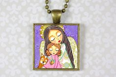 Jewelry Handmade Art Pendant Necklace  Protector by Evonagallery, $21.00