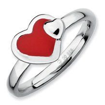 Fiery Silver Stackable Red Enameled Heart Ring. Sizes 5-10 Available Jewelry Pot. $19.99. Fabulous Promotions and Discounts!. All Genuine Diamonds, Gemstones, Materials, and Precious Metals. 30 Day Money Back Guarantee. Your item will be shipped the same or next weekday!. 100% Satisfaction Guarantee. Questions? Call 866-923-4446