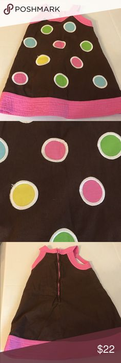 Peaches & Cream brown pink polka dot dress 3T This is a Peaches & Cream brown and pink dress.  It has polka dots on the front.  Size 3T.  It's in great condition.  No rips, stains or tears. Peaches & Cream Dresses Casual
