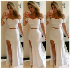 White Fashion, Modern Fashion, Girl Fashion, Short Outfits, Girl Outfits, Casual Outfits, I Dress, Party Dress, Sexy Gown