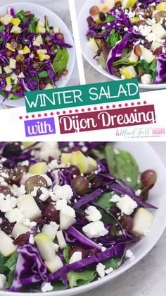 A winter salad recipe made of mixed greens tossed with purple cabbage and topped with grapes, pears, cranberries, feta, and roasted nuts and finished off with a Maple Dijon dressing! It is the best salad recipe perfect for your dinners or holiday parties! Quick Salad Recipes, Winter Salad Recipes, Healthy Meat Recipes, Spinach Recipes, Healthy Salads, Healthy Food, Grape Salad, Chopped Salad, Cucumber Salad