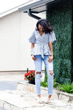 Blue Wrap Top & Ripped Denim