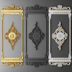 Boiserie molding Model in Decoration Wall Panel Design, Door Design, Classic Interior, Home Interior Design, Baroque Decor, 3d Cnc, Wall Molding, Moldings, Royal Design