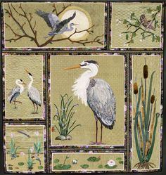 """""""Heron Happiness"""" 2011 Winner 1st Place: Innovative, Wall, Appliqué by Kathy McNeil (Tulalip, WA)"""