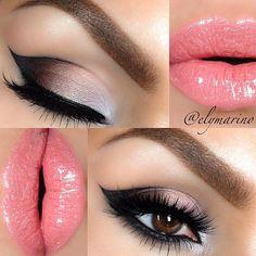Gorgeous eye make up and pink lips Kiss Makeup, Cute Makeup, Gorgeous Makeup, Pretty Makeup, Hair Makeup, Night Makeup, Makeup Eyeshadow, Pink Eyeshadow, Perfect Makeup
