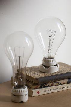 vintage light bulb and porcelein socket as sculpture piece