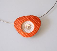 Tangerine pearl and silver triangle polymer clay pendant by OrlyFuchsGalchen