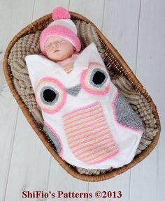 Auf der Suche nach hübschen Häkelideen? Diese Eulenschlafsäcke sind wirklich sehr süß für Dein Baby. - DIY Bastelideen