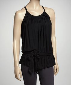 Take a look at this Black Belted Tank Top by Papillon Imports on #zulily today!