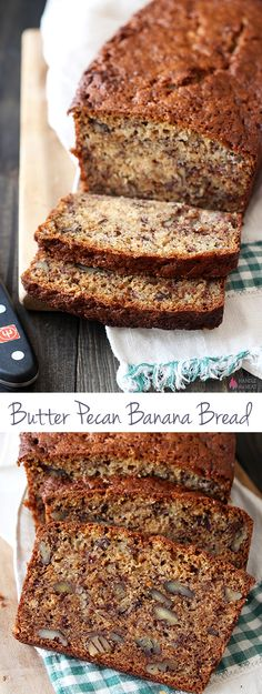 Butter Pecan Banana Bread - our new favorite banana bread recipe! Butter Pecan Banana Bread - our new favorite banana bread recipe! Pecan Recipes, Banana Bread Recipes, Sweet Recipes, Banana Nut Bread Recipe With Pecans, Just Desserts, Delicious Desserts, Dessert Recipes, Kolaci I Torte, Healthy Recipes