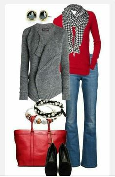 Like grey cardigan, red sweater,  red bag,  scarf and earrings