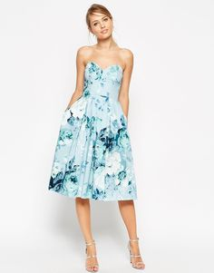 Image 1 of ASOS SALON Rose Print Bandeau Midi Prom Dress
