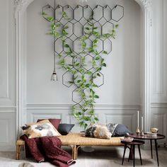 elle-decorar-con-plantas-interior House Plants Decor, Plant Decor, Wall Design, House Design, Plantas Interior, Green Garden, Exterior, Home Living Room, Indoor Plants
