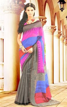 Picture of Black, Pink and Blue Silk Saree with Blouse