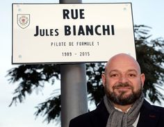 Philippe Bianchi, the father of Jules Bianchi Formula One driver who died on July 17, 2015 after an accident during the Japanese Grand Prix Formula 1 race on October 5, 2014, poses near the street plaque with his son's name during its inauguration in Nice, France, January 23, 2017. REUTERS/Eric Gaillard