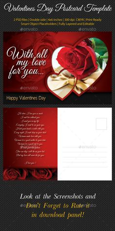 Valentines Day Postcard Template — Photoshop PSD #february #beautiful • Available here → https://graphicriver.net/item/valentines-day-postcard-template/10033247?ref=pxcr