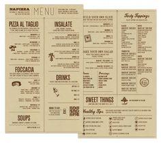 #menu #food Napizza food menu by Miller Creative via wearemiller.com. I Love this menu because it's eye catching and simple.