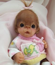 OOAK Baby Orangutan Monkey Girl Sculpted Polymer Clay Art Doll Collectible Mini #Dolls
