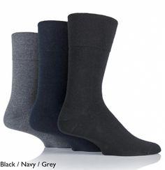 f6bbfbd81 3 pairs of Plain Mens Non elastic Gentle Grip socks (Diabetic friendly)