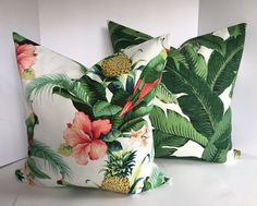 Tommy Bahama Beach and Palms Pillow Cover in Indoor Outdoor Fabric now includes piping Earthy Home Decor, Eclectic Decor, Outdoor Fabric, Indoor Outdoor, British Colonial Style, Home Remodel Costs, Modern Master Bedroom, Scandinavian Bedroom, Tropical Decor