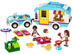 LEGO® Friends Summer Caravan with opening roof, 2 mini-doll figures, kitchen, shower, beds and a convertible car. Lego Item No. 41034