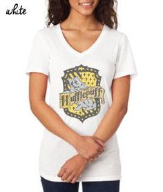 Harry Potter Inspired Clothing - Vintage Hufflepuff Crest V-Neck Tee - Ladies