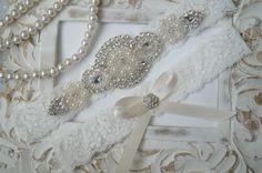 SALE--Wedding Garter Set, Bridal Garter Set, Vintage Wedding, Ivory Lace Garter, Crystal Garter Set, Something Blue - Style 600 by OneFancyDay on Etsy https://www.etsy.com/au/listing/159366051/sale-wedding-garter-set-bridal-garter