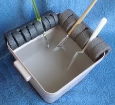 Use rolls of foam pipe on your painting bucketand cut slits to hold your different brushes in place and keep them right where you need them.