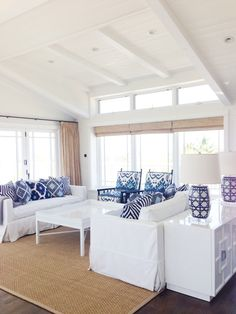 Beach house - all white with blue accents