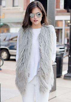 Grey Tibetan Lamb Faux Fur Vest - Donna Salyers' Fabulous Furs #fauxfur #FabulousFurs #DonnaSalyers #crueltyfree #fallfashion #winterfashion #ifakeit #fakefur #furcoat #furjacket #faux #grey #donnaspicks #winter2016
