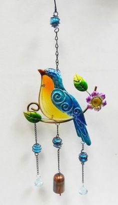 Song-Bird-Bell-Wind-Chime-Sun-Catcher-Fused-Glass-Marbles-Faceted-Beads-21