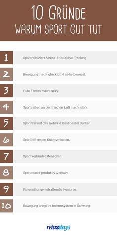 10 Gründe, warum Sport einfach gut tut! Gleich loslegen und Fitnesszubehör kaufen: https://relaxdays.de/sport-freizeit/fitnessgeraete