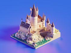 Hogwarts Castle Daylight designed by Roman Klčo. Connect with them on Dribbble; Castle Cartoon, Cartoon House, Madara Susanoo, Model House Plan, House Plans, Concept Art Tutorial, Pix Art, Isometric Art, Highlands Ranch