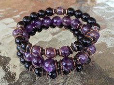 8mm Black Onyx Amethyst Wrist Mala Beads Healing B – AwakenYourKundalini