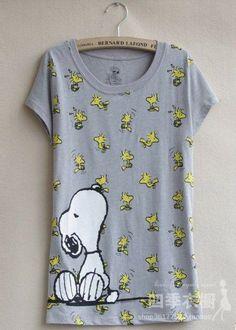 Snoopy t shirt 2013  women's t-shirt plus size available cartoon gray thin short-sleeved t-shirt $13.70