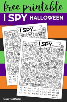 Free Printable I Spy Halloween Activity. Print this fun Halloween I spy game for a classroom party game or church harvest party. - Free Printable I Spy Halloween Activity - Paper Trail Design Halloween Tags, Theme Halloween, Classroom Halloween Party, Halloween Halloween, Halloween Decorations, Halloween Costumes, Halloween Worksheets, Halloween Activities For Kids, Holiday Activities